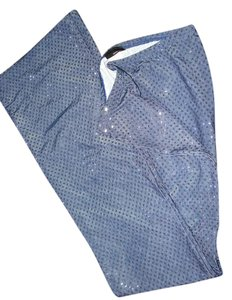 Sans Souci Nightclub Sequin Stretchy Spandex Yoga Boot Cut Pants Blue jean