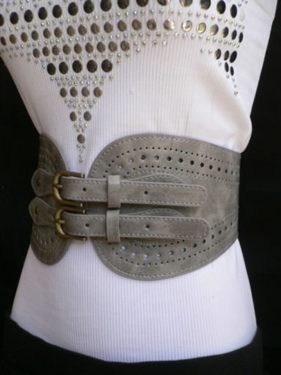 Other Women Gray Faux Leather High Waist Fashion Belt Double Buckle 29-37