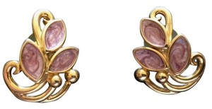 Gold Tone with Lavender & Pink Enameled Petals Pierced Earrings