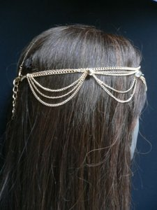 Women Gold Metal Full Head Chain Waves Fashion Jewelry Hair Band Rhinestones