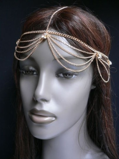 Other Women Gold Metal Full Head Chain Waves Fashion Jewelry Hair Band Rhinestones