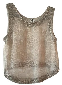 Haute Hippie Top Ivory and Metallic