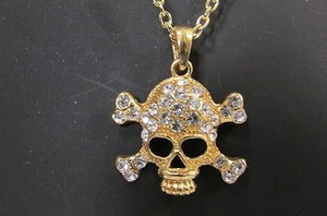 Other Women Skull Gold Metal Skeleton Chain Fashion Necklace Silver Rhinestones