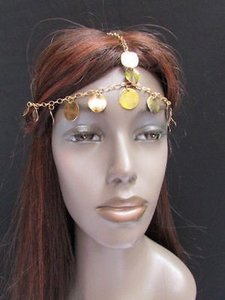Women Gold Head Metal Chain Fashion Jewelry Hair Band Multi Big Coins Bead