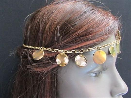 Other Women Gold Head Metal Chain Fashion Jewelry Hair Band Multi Big Coins Bead
