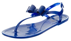 Valentino Bow Jelly Rockstud T Strap Blue Sandals
