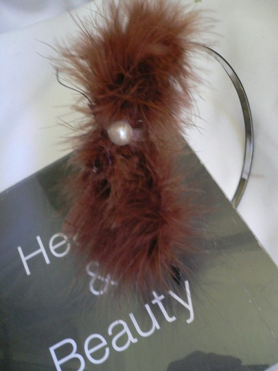 Other Women Headband Brown Feathers Faux Fur Brown Bow Crem Bead Adjustable