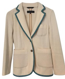 Rag & Bone Knit Jacket Bromley Cream with blue/black piping Blazer