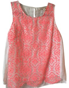 McGinn Top Coral and Off-White