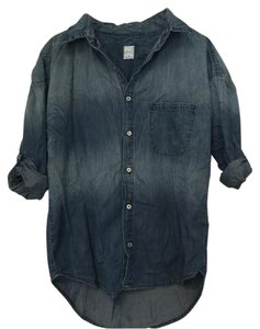 NSF Blue Distressed Button Down Shirt Denim