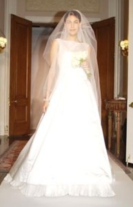 Oscar De La Renta 5006 Satin Aline Tank Bateau Sz 8/10 Wedding Dress