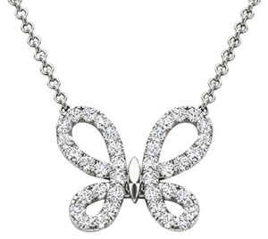 Elizabeth Jewelry 14Kt White Gold 0.50 Ct Diamond Butterfly Pendant