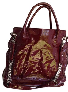 Badgley Mischka Patent Leather Chain Tote in Burgundy