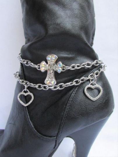 Other Women Chains Anklet Strap Rhinestone Cross Heart Bracelet Charm Silver Boots