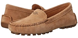 Coach Flat Loafer Fog Gray Suede Camel Flats