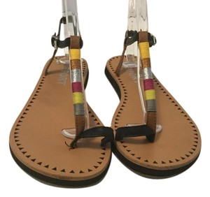 REPORT Multi color t and ankle strap thong Sandals