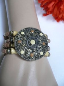 Women Beige Brown Wood Beads Native Style Gold Fashion Bracelet Cream Dots