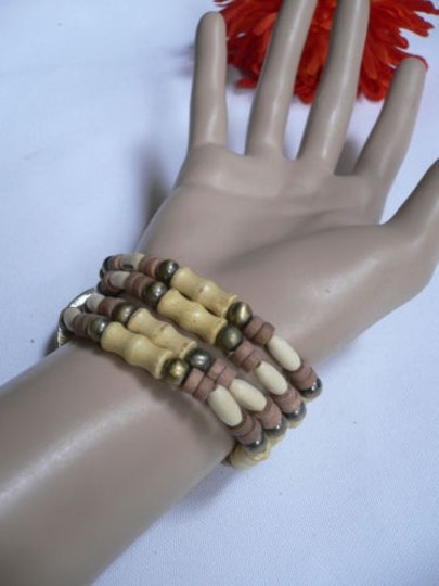 Other Women Beige Brown Wood Beads Native Style Gold Fashion Bracelet Cream Dots