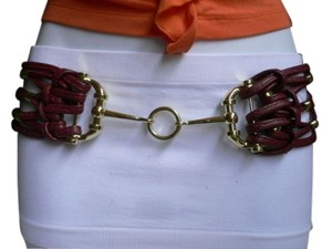 Other Women Wide Red Faux Leather Fashion Belt Gold Hook Ring Buckle 32-40 M-xl