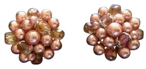Other Vintage 1950's Pink Faux Pearl and Beaded Clip Earrings Marked Japan