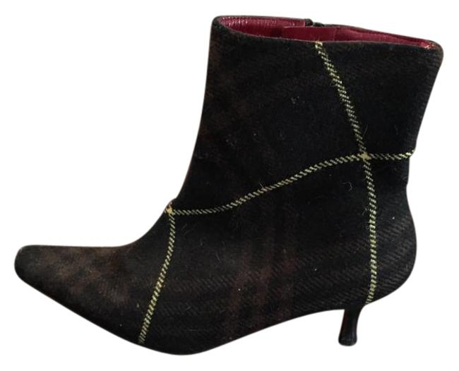 Item - Brown Black Yellow Women's Fabric Ankle Boots/Booties Size US 6 Regular (M, B)