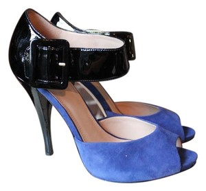 Joan & David Peep Toe Party Suede Patent Leather Blue and Black Pumps