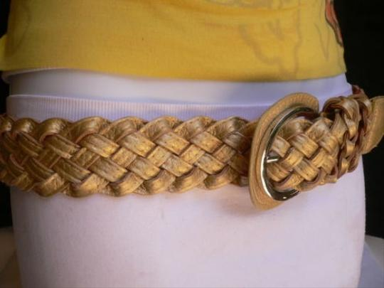 Other Women Hip Waist Gold Belt Silver Buckle Braided Design Hip Waist S-m-l