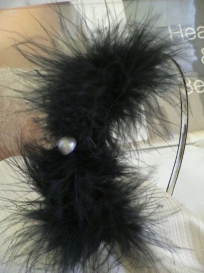 Other Women Headband Black Feathers Black Bow Crem Bead Casual Style