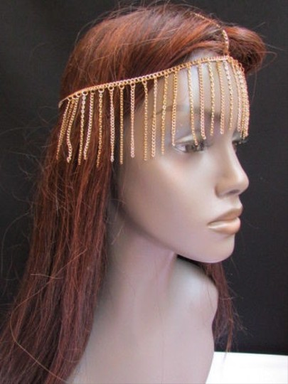 Other Women Gold Long Front Fringes Metal Head Chains Hair Piece Fashion Jewerly