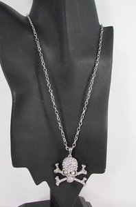 Women Silver Metal Skeleton Skull Bones Necklace Clear Rhinestones Long