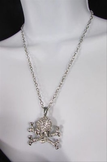 Other Women Silver Metal Skeleton Skull Bones Necklace Clear Rhinestones Long