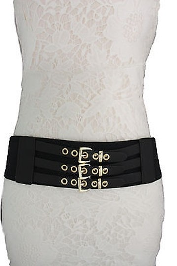 Other Women Elastic Black Faux Leather Fashion Belt Western Gold Buckles