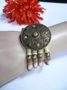 Women Beige Brown Wood Beads Faux Leather Antique Gold Fashion Bracelet Dots