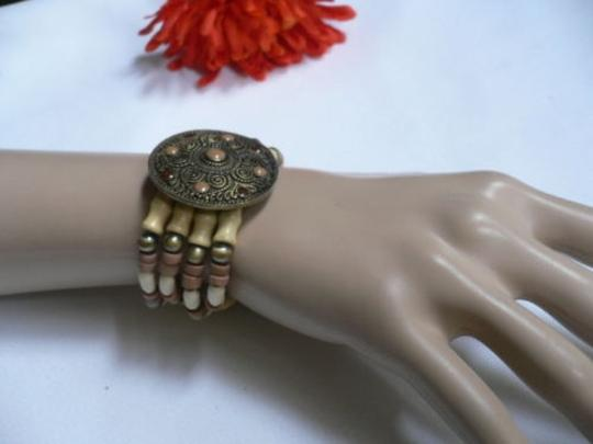 Other Women Brown Wood Beads Antique Gold Fashion Bracelet Dots Image 1