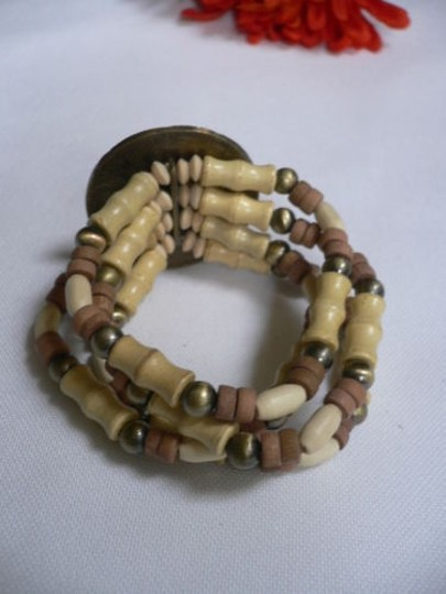 Other Women Brown Wood Beads Antique Gold Fashion Bracelet Dots Image 10