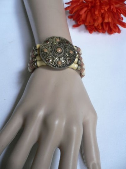 Other Women Brown Wood Beads Antique Gold Fashion Bracelet Dots Image 11