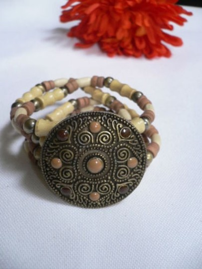Other Women Brown Wood Beads Antique Gold Fashion Bracelet Dots Image 2
