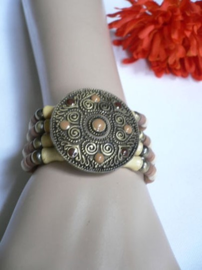 Other Women Brown Wood Beads Antique Gold Fashion Bracelet Dots Image 3