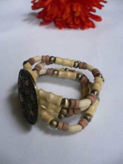 Other Women Brown Wood Beads Antique Gold Fashion Bracelet Dots Image 4