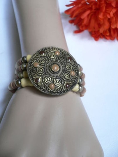 Other Women Brown Wood Beads Antique Gold Fashion Bracelet Dots Image 5