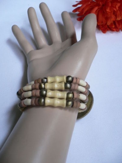 Other Women Brown Wood Beads Antique Gold Fashion Bracelet Dots Image 6