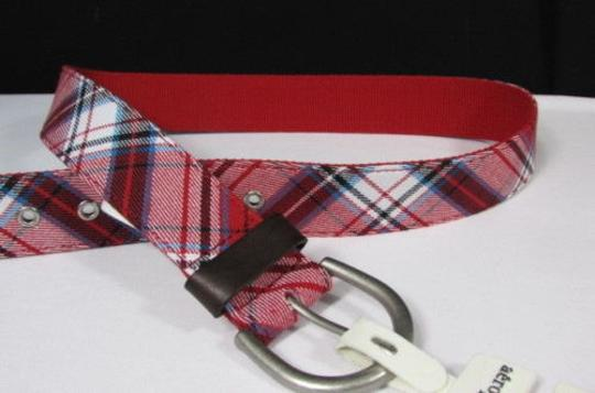Aéropostale Aeropostale Women Red Blue White Fabric Fashion Belt Big Silver Buckle