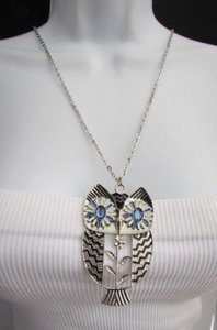 Other Women 17 Long Drop Fashion Necklace Big Silver Gold Metal Owl Rhinestones