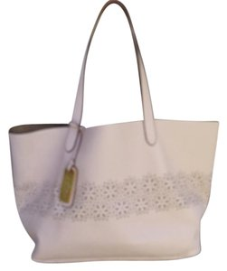 Lauren Leather Perforated Tote in Pale Pink