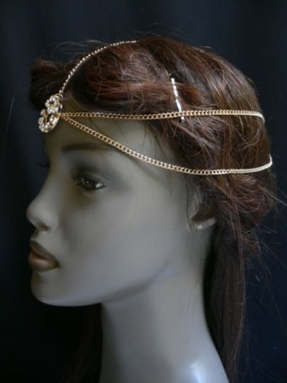 Other Women Gold Metal Head Chain Hair Jewelry Ring Rhinestones
