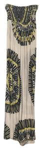 White/navy/yellow Maxi Dress by
