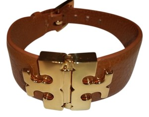 Tory Burch Tory Burch Leather Wide T-Hinge Bracelet