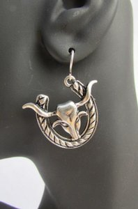 Other Women Silver Metal Western Fashion Earrings Set Big Bull Horseshoe Hook Loop