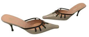 Prada Italian Cream all leather black cut outs E37 Mules