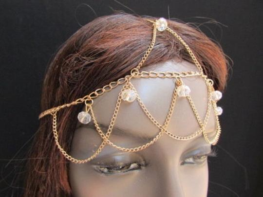 Other Women Gold Metal Head Chain Clear Forehead Beads Fashion Jewerly Hair Peice